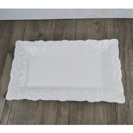 LC264 - White Ceramic Rectangular Platter with decor by myitalianfavors.com
