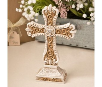 8698 Antique design Cross statue in ivory and matte gold from fashioncraft