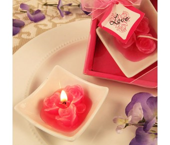 "RB7854HP ""Lovely Little Roses"" Hot Pink Candles with Tray"