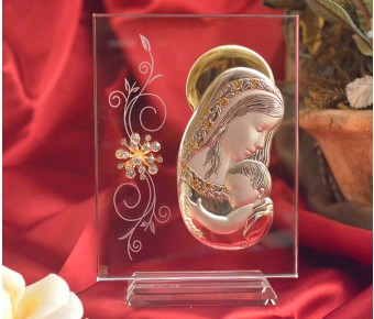 RL270V Italian Silver Mother and Child icon on a glass stand