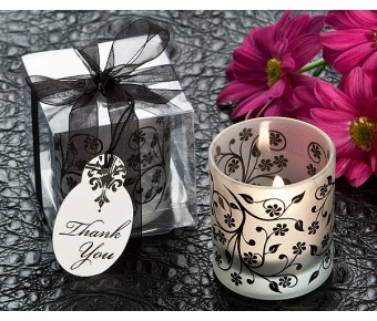 "A81009 ""Frosted Elegance"" Black and White Tea Light Candle Holder (Set of 4)"