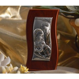 RL460 Italian Silver Holy Family icon on a wood stand