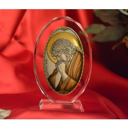 RL1220VOX Italian Silver praying Jesus Icon Made in Italy icon on a glass stands