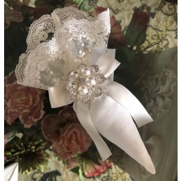 AF2315 Cone Favor bag with pearl brooch and rhinestones , Wedding Favors Bomboniere