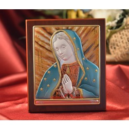 RL396 Italian Silver Icon Our Lady of Guadalupe on a wood stand