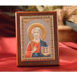 RL1510 Italian Silver Greek Orthodox Pantocrator Christ color icon on a wood stand