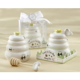 """23014 """"Sweet As Can Bee"""" Ceramic Honey Pot with Wooden Dipper"""