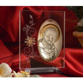 RL1200V Italian Silver Icon San Pio of Pietrelcina Made in Italy