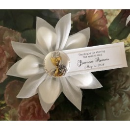 First Communion Confetti Flower with Italian Argento Chalice pin