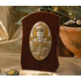 RL1100OL Italian Silver Orthodox Greek Icon Saint Nicholas Made in Italy icon on a wood stand