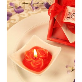 "RB7854RD ""Lovely Little Roses"" Red Rose Candle with Tray"