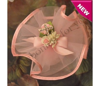 AF205 Almond Favor Bomboniere with Organza and rhinestone Pick Cross