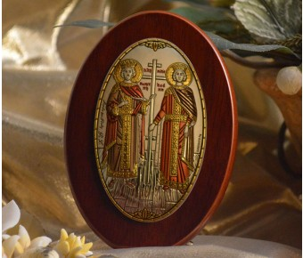 RL1210X Italian Silver Orthodox Greek Icon Saints Constantine & Helen Made in Italy icon on a wood stands