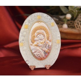 78MUR Made in Italy Our Lady of Vladimir or on a Murano Glass Stand