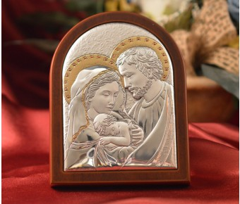 RL930 Italian Silver Holy Family icon on a wood stand