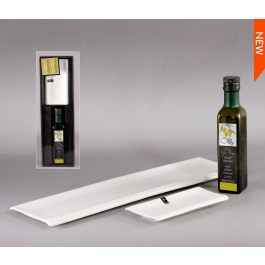 Set of 2 Ceramic Platters with Oil Bottle (Olive oil not included) by myitalianfavors.com