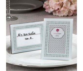 4189 White frosted Glass picture frame / placecard holder