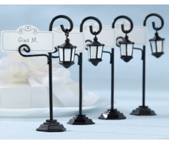 "25057BK ""Bourbon Street"" Streetlight Place Card Holder with Coordinating Place Cards (Set of 4)"