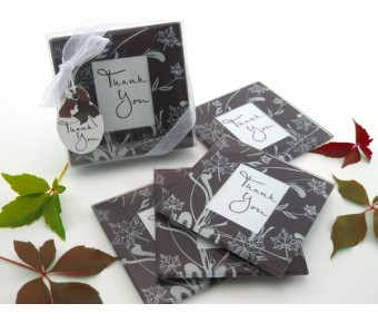 "A51017 ""Falling Leaves"" Leaf Themed Glass Photo Coasters (Set of 4)"