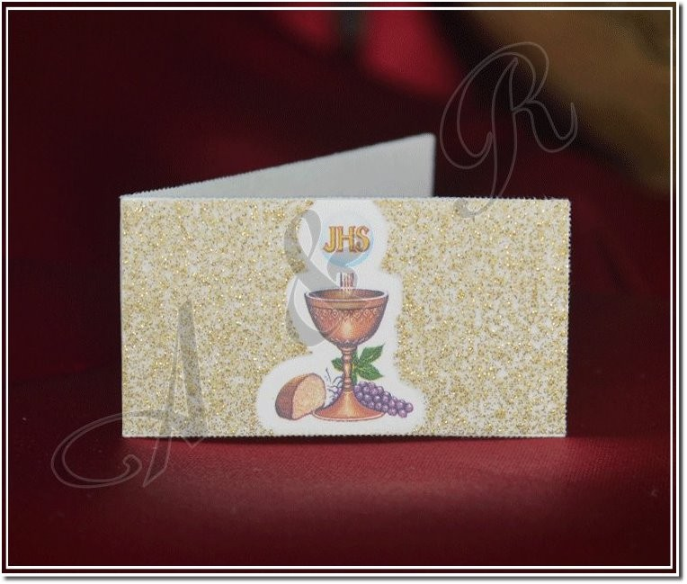 First Holy Communion Bigliettino with Chalice and Glitter | First ...