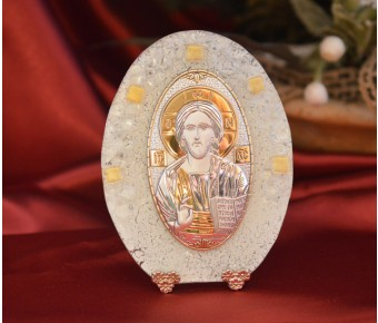 74MURMade in Italy Christ Pantocrator on a Murano Glass Stand