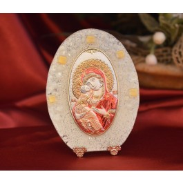 79MUR Made in Italy Our Lady of Vladimir color or on a Murano Glass Stand