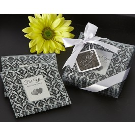 "A51035 ""Classic Damask"" Black & White Photo Coaster (Set of 2)"
