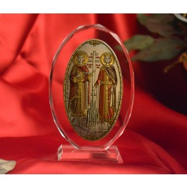 RL1210VOXItalian Silver Orthodox Greek Icon Saints Constantine & Helen Made in Italy icon on a glass stand