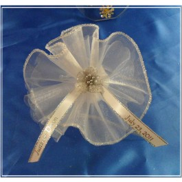 AF2 Organza Circle Silver Edge with Confetti (Personalized Ribbon sold separately)