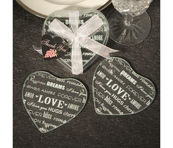 3974 Heart Design Glass Coaster Favors (Set Of 2)