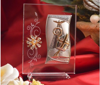 RL420VItalian Silver Confirmation icon on a glass stand