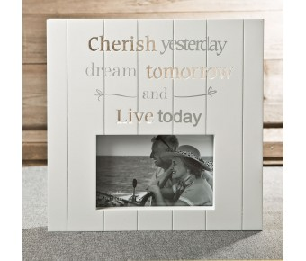 12179 White MDF laser cut Cherish 6 x 4 frame