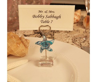 "RB1080 ""Star Design"" Arte Murano Photo/Place Card Holder"