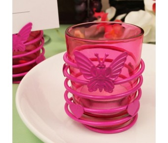 "RB1139 ""Butterfly Heart Swirl"" Hot Pink Steel Candle Holder with Glass Cup and Tea Light Candle"