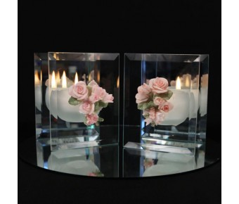 "RB5573 ""Bouquet of Roses"" Mirrored Glass Candle(Assorted)"