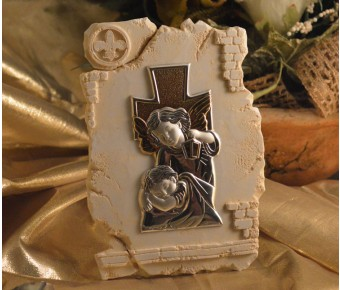 RL840Guardian Angel icon on a Marble dust texture stand