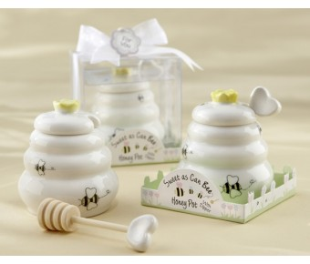 "23014 ""Sweet As Can Bee"" Ceramic Honey Pot with Wooden Dipper"