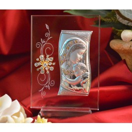 RL470V Italian Silver Mother and Child icon on a glass stand