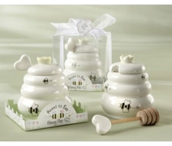 """23015 """"Meant to Bee"""" Ceramic Honey Pot with Wooden Dipper"""