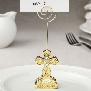8875 Gold Cross themed placecard holder / photo holder from fashioncraft