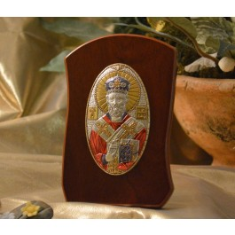 RL1000OLX Italian Silver Orthodox Greek Icon Saint Nicholas Made in Italy icon on a wood stand