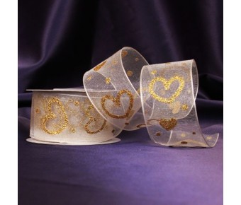 "RB4072IV ""Hearts of Gold"" Ivory Organza Ribbon"