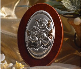 RL100 Italian Silver Angels icon on a wood stand