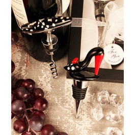 "RB1100 ""Bold in Black"" Arte Murano Shoe Bottle Stopper & Corkscrew"