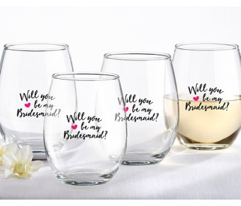 30023NA-WEN We're Engaged 15 oz. Stemless Wine Glass (Set of 4)