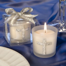 5406 Silver Cross Themed Candle Favors