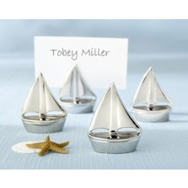 "11044NA ""Shining Sails"" Silver Place Card Holders (Set of 4)"