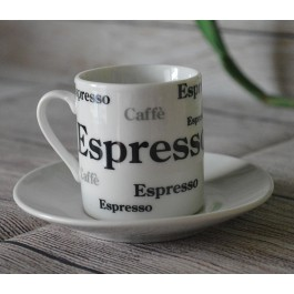 LC004 Espresso Set Black and gray  Design Set of 2 (2 Cups + 2 Saucers)  by myitalianfavors.com