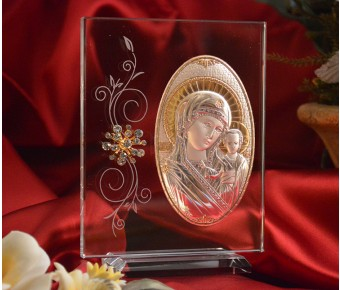 RL180VItalian Silver Greek Orthodox Mother Mary icon on a glass stand