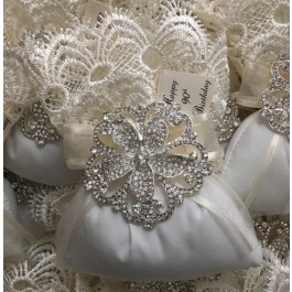 AF1525 Italian Wedding Favor Bag with rhinestone brooch